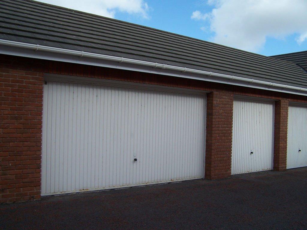 Double garage door before refurbishment